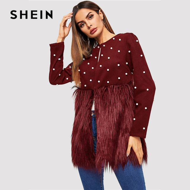 SHEIN Office Lady Solid Pearl Embellished Faux Fur Round Neck Jacket Autumn Workwear Casual Women Coat And Outerwear 10