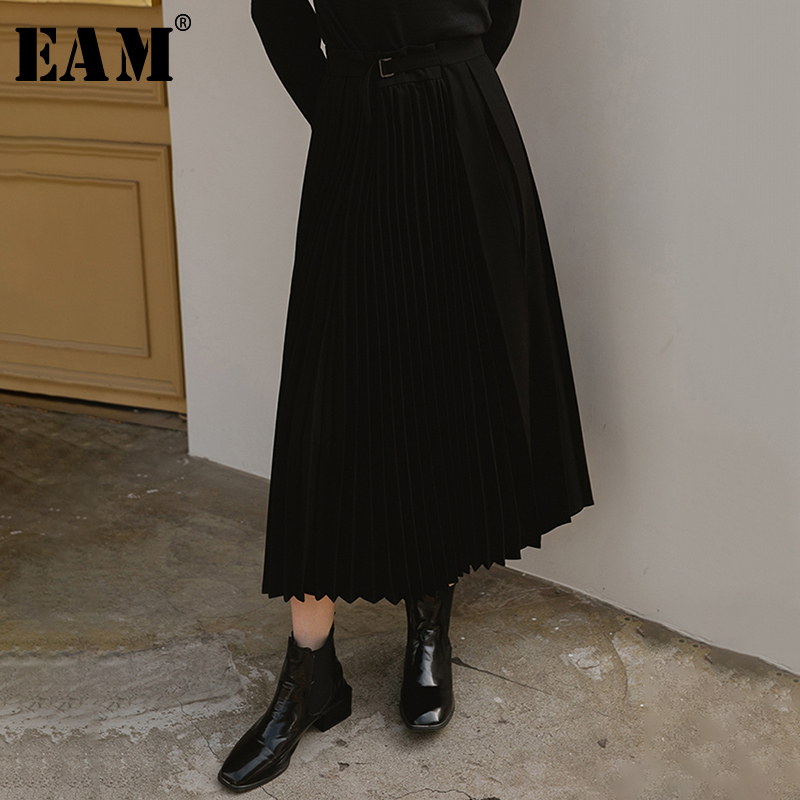 [EAM] High Elastic Waist Black Pleated Asymmetrical Split Half-body Skirt Women Fashion Tide New Spring Autumn 2020 1N715