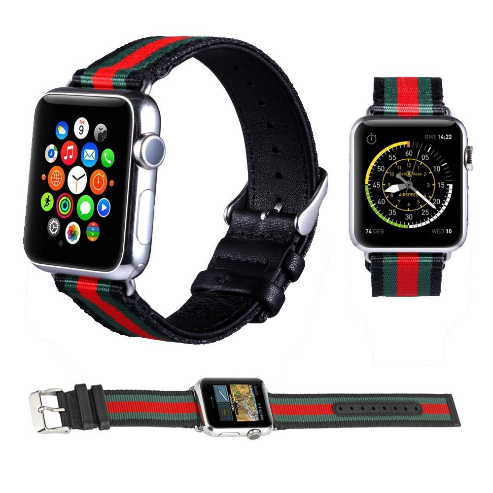 Suitable For APPLE Watch4 New Color Colorful Nylon + Genuine Leather-in-Casual Watch Strap 40 Mm/44 Size