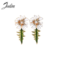 JOOLIM Jewelry Wholesale/High End Enamel Flower Convertible Earring 2 in 1 Dangle Fashion