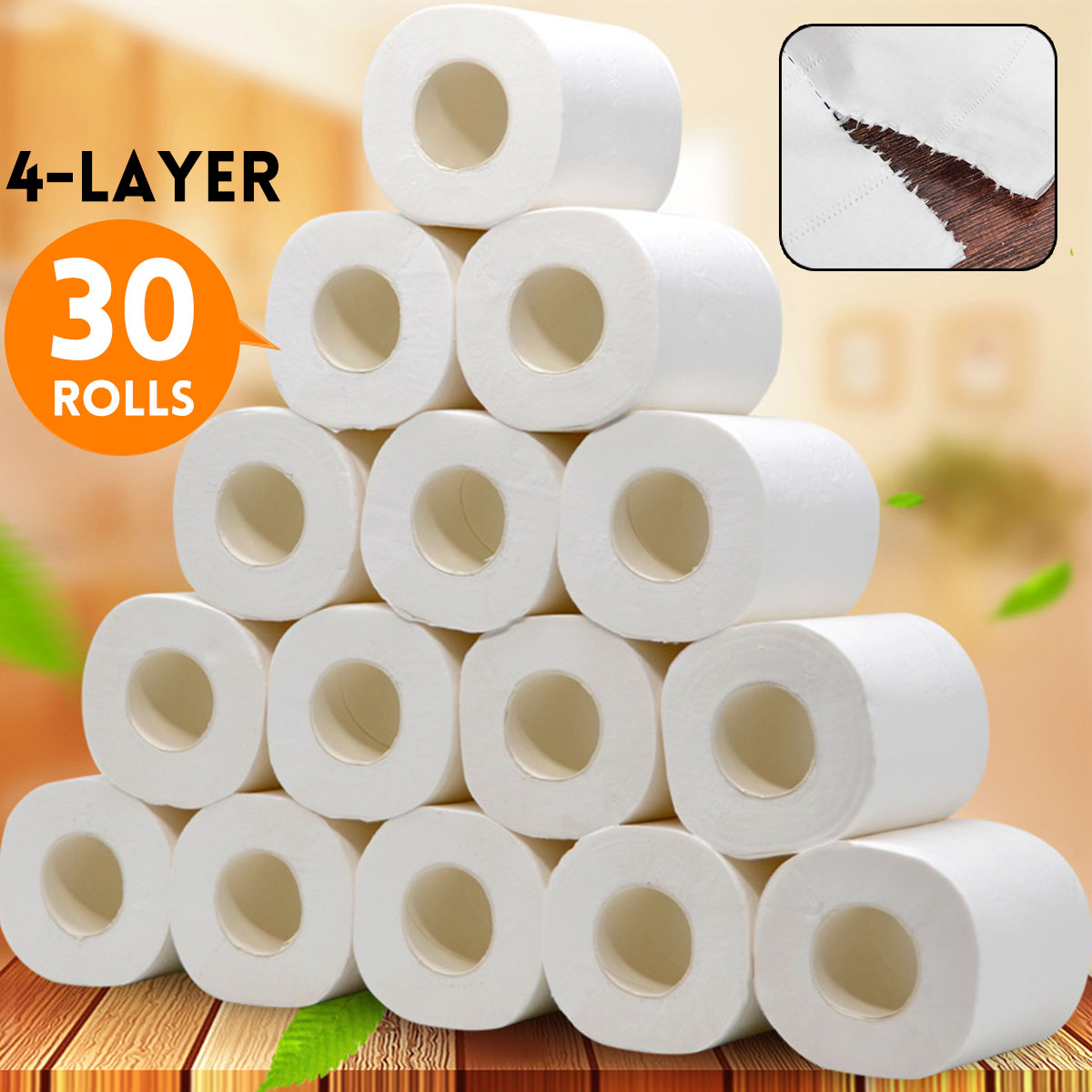 30pcs Roll Top Quality Roller Toilet Paper 4 Layer Native Wood Pulp Soft Paper Home Bathroom Rolling Tissue Paper Dropshipping