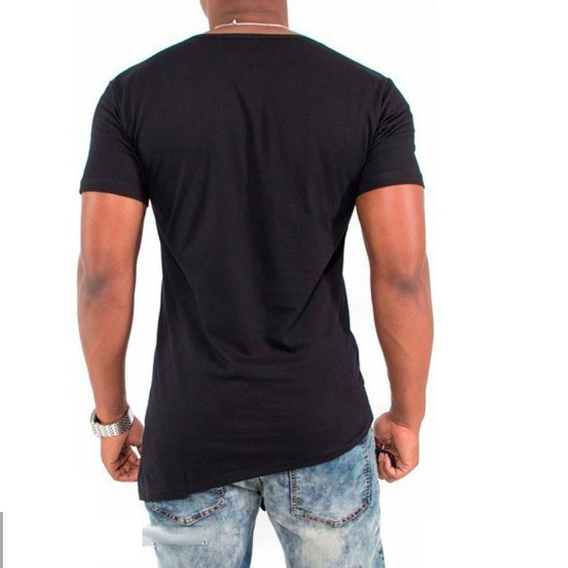 IceLion 2019 Summer T Shirt Men Irregular Hem Short Sleeve T-shirt Fashion Button Collar Hip Hop Streetwear Tops Slim Fit Tshirt Men Men's Clothings Men's Tee Men's Tops cb5feb1b7314637725a2e7: DrakGray|lightgray|black|White