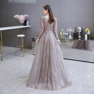 Image 2 - Dubai Luxury Long Sleeve Evening Dress 2020 Gorgeous V Neck Lace Pleated Beaded Crystal Sexy Formal Gown