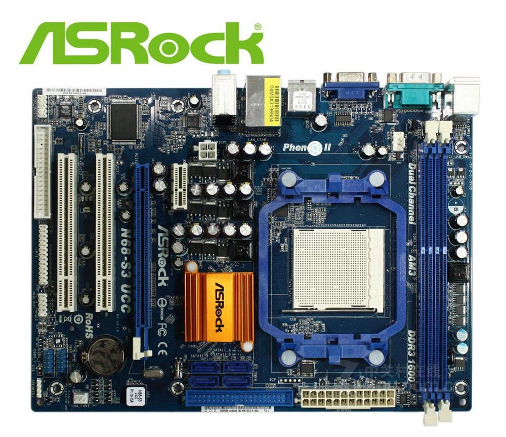 Desktop Motherboard ASRock N68-S3 UCC N68 Socket AM2/AM2+/AM3 DDR3 For AMD CPU PC SALES