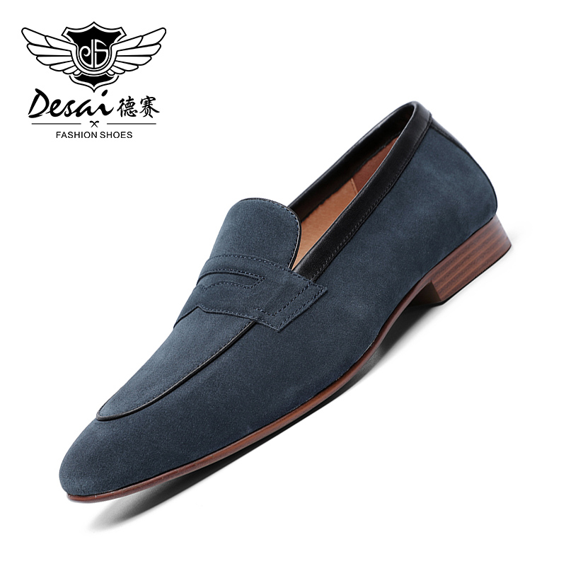 DESAI Patent Leather Business Handmade Dress Loafers Men Shoes For Mens 2019