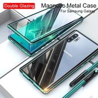 Doppelseitig Magnetische Metall Fall Für Samsung S21 S20 FE S10 S9 S8 Hinweis 20 Ultra 10 Plus 9 8 A72 a71 A51 A50 A32 A31 M31 A12 Abdeckung