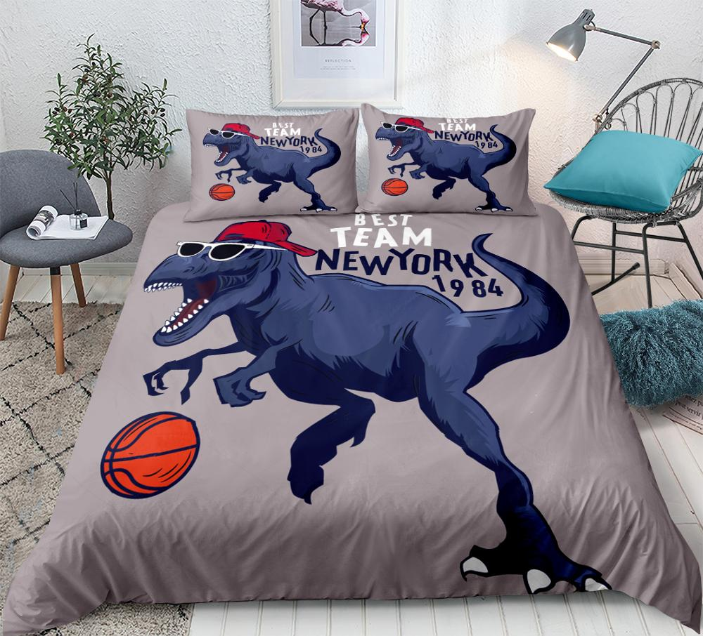 Cartoon Dinosaur Bedding Set 3D Dinosaurs Playing Basketball Duvet Cover Set Boys Home Textiles  Kids Bedclothes Queen Size 3pcs