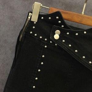 Image 5 - TWOTWINSTYLE 가을 패치 워크 구슬 여성 청바지 하이 웨이스트 슬림 데님 발목 길이 바지 여성 2020 Streetwear Fashion New