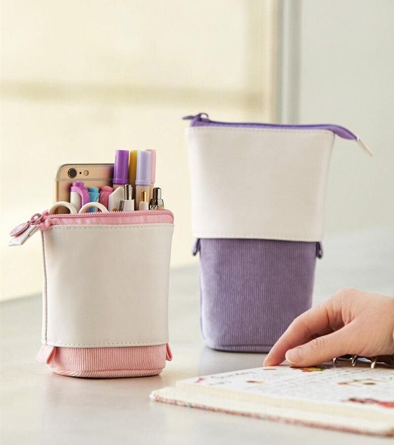 Creative Retractable Pencil Case School Large Capacity Stationery Storage Bag Kawaii Solid Color PencilCase Cute Pen Holder