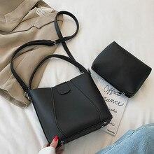 2019 Women Shoulder Bag PU Leather Simple Bucket Bags Female Fashion Designer Handbag Crossbody Messenger Ladies Composite