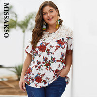Missakso Women Lace Patchwork Chiffon Shirt Casual Loose Short Sleeve Plus Size Floral Print Blouse 2019 Summer Top