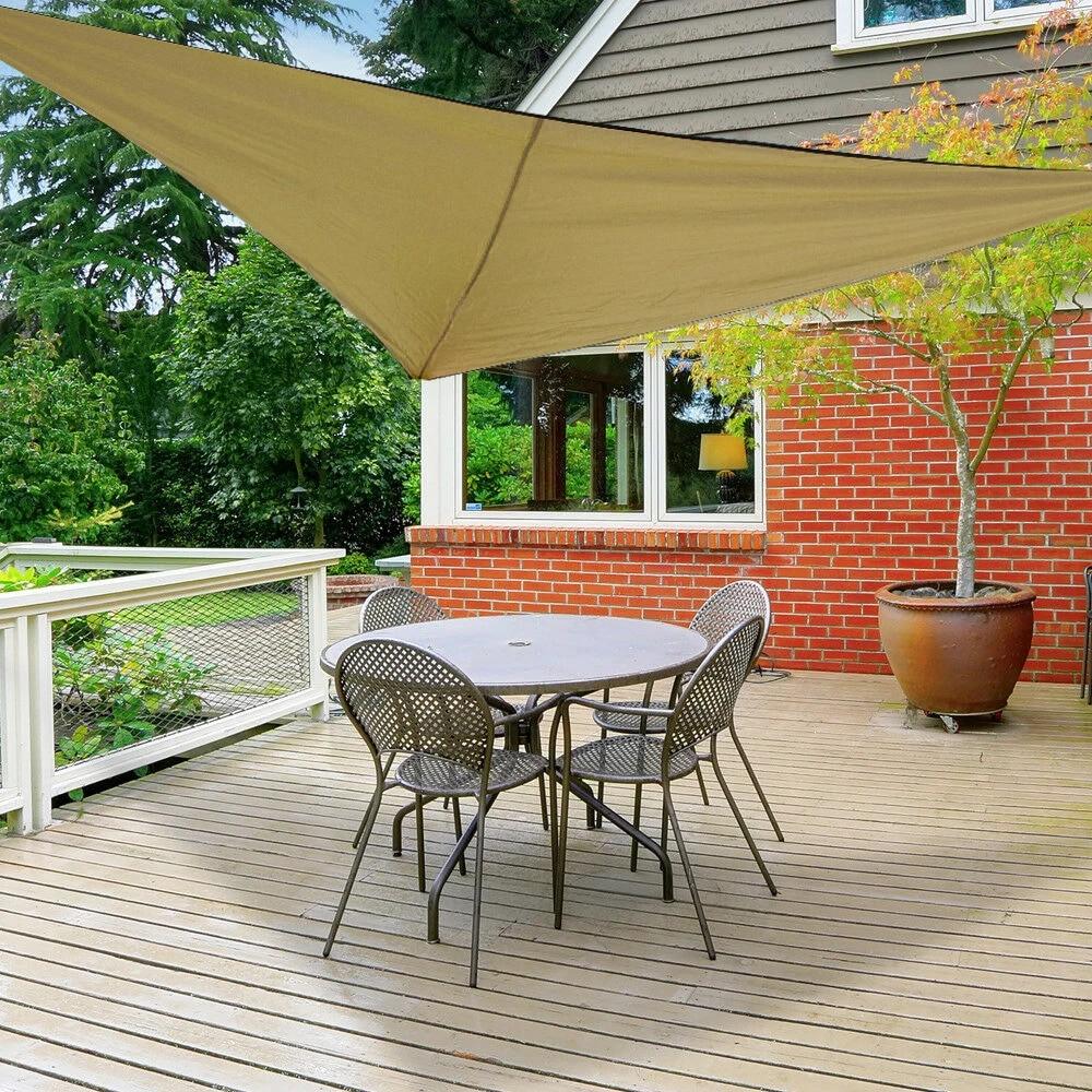 waterproof triangle sun shade sail outdoor patio tarpaulin shelter cloth screen awning uv protection awning camping picnic tent