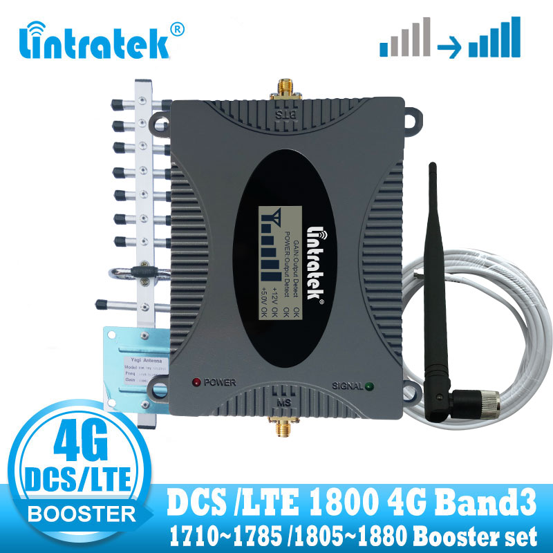 Lintratek 4G Signal Booster Amplifier DCS 1800 Celluar Cell Phone Signal Repeater LTE 4G Internet Amplifier Yagi Antenna + Cable