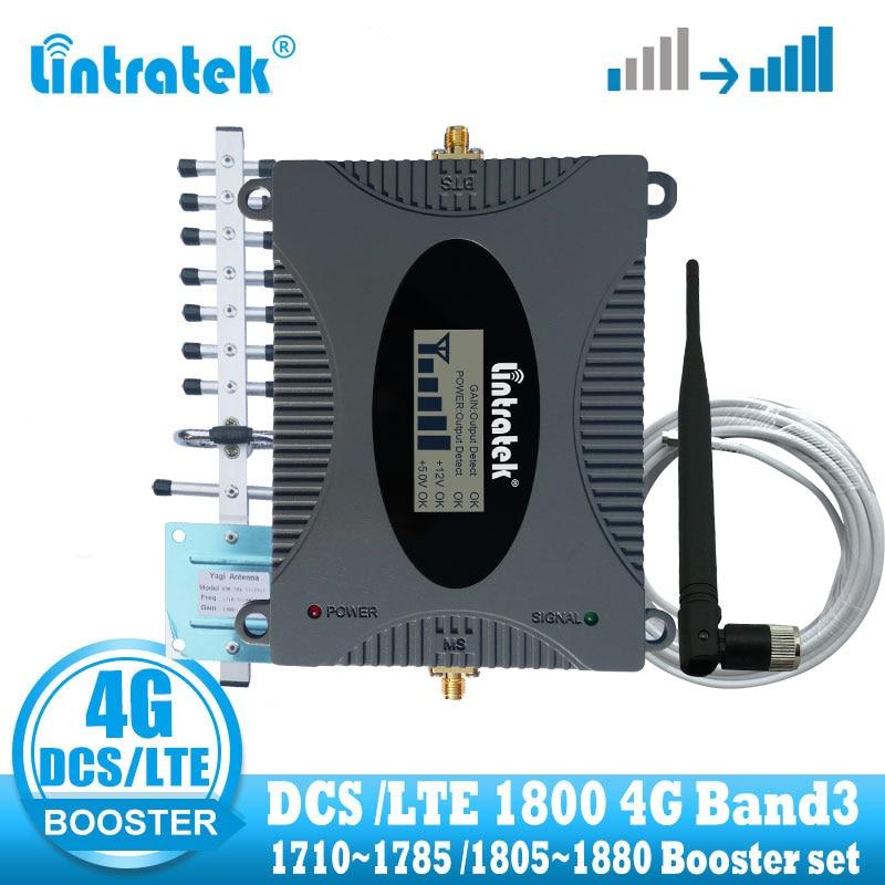 Lintratek 4G Signal Booster Amplifier DCS 1800 Celluar Cell Phone Signal Repeater LTE 4G Internet Amplifier Yagi Antenna + Cable