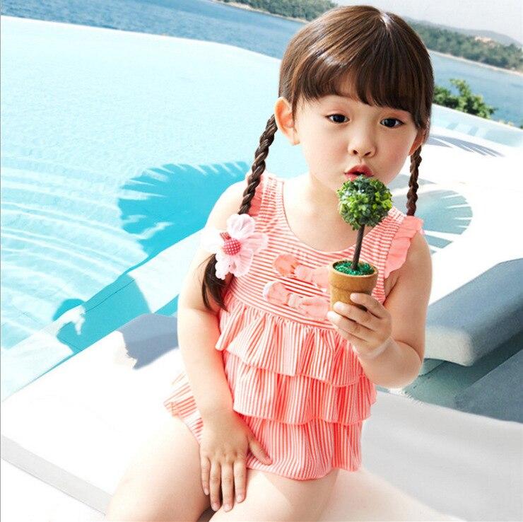 2019 New Style Orange Stripes Cake One-piece KID'S Swimwear Baby Infants GIRL'S Little Princess GIRL'S Swimsuit