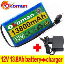 Battery-Pack Lithium-Ion 18650 13800mah Rechargeable DC CCTV 12V Cam-Monitor Capacity