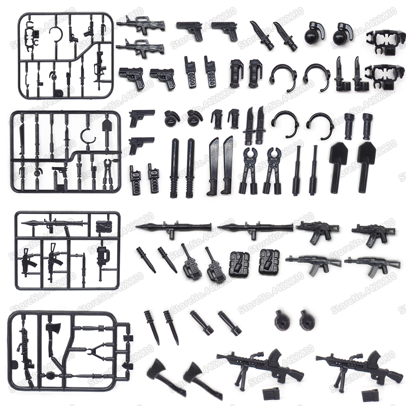 Hot Ww2 Weapons Military Blocks Equipment Gun Ax Saber Army Figures Guns Soldier Military Compatible Other Building Blocks Toys