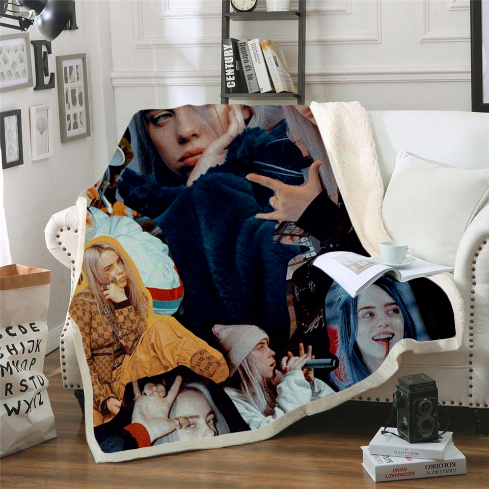 Купить с кэшбэком billie eilish 3d printed fleece blanket for Beds Hiking Picnic Thick Quilt Fashionable Bedspread Sherpa Throw Blanket style-1