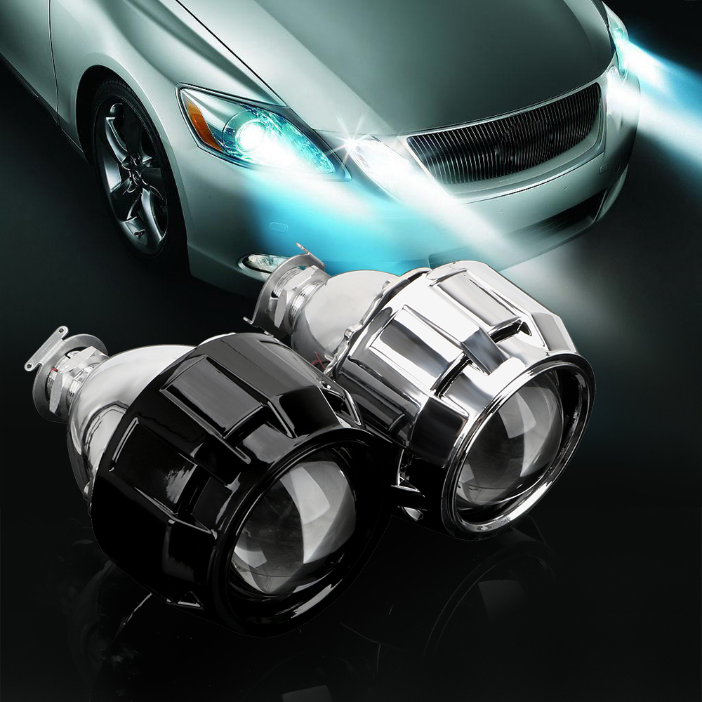 LEEPEE Xenon HID Projector <font><b>Lens</b></font> 2.5 Inch Silver Black Shell For H1 Xenon <font><b>LED</b></font> Bulb H4 <font><b>H7</b></font> Motorcycle Car <font><b>Headlight</b></font> Accessories image