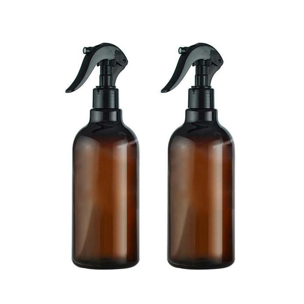 500ml Large Empty Amber Glass Bottles With Storage Cap Black Trigger Mist Spray Flow For Essential Oil Cleaning Product