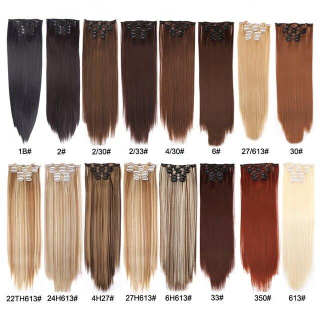 Alileader Volledige Head Clip In Hair Extension Lange Rechte Natuurlijke Zwarte 6 Stks/set 16 Clips 22 Inch Synthetisch Haar Stuk voor Vrouwen