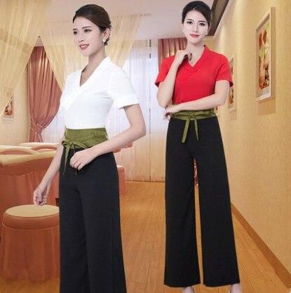 2019 White / Red   Spa Uniform Salon Thai Clothes Fashion Slim Massage Health Overalls Set Wholesale Beauty Salon Work Clothes