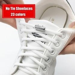 1Pair Metal Lock Shoelaces Round Elastic Shoe Laces Special No Tie Shoelace for Men Women Lacing Rubber Zapatillas 23 Colors