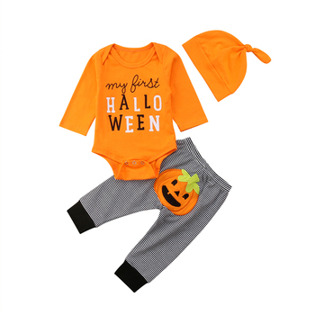 Halloween 3PCS Newborn Kids Baby Girl Boy Clothes Long Sleeve Romper Jumpsuit Bodysuit Pants Hat Outfits