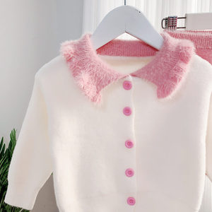 Image 4 - Humor Bear ensemble pull pour filles, tenue tricoté pour enfants, chemise + jupe, tenue 2 pièces, à revers, nouvelle collection, automne hiver 2019