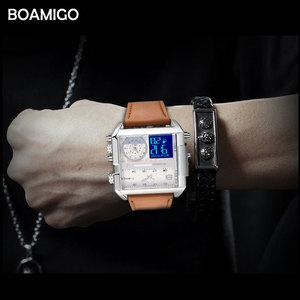 Image 5 - BOAMIGO marka erkek izle 3 saat dilimi büyük adam moda askeri LED İzle deri kuvars saatler orologio uomo relogio masculino