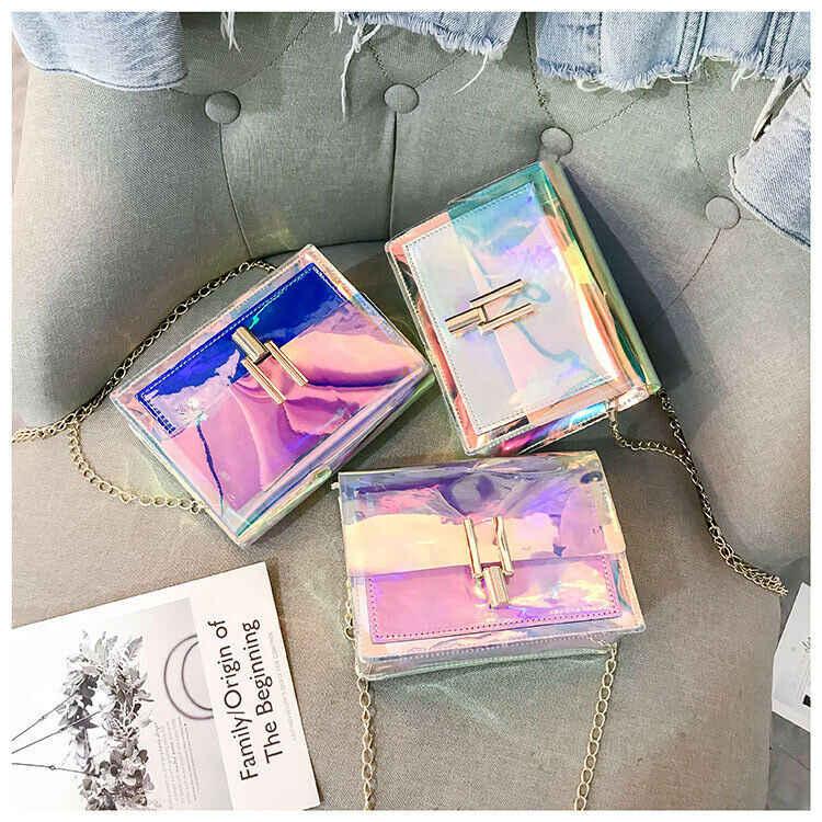 3 צבעים אופנה נשים תיקי לייזר ברור שקוף Tote הולוגרמה תיק ארנק כתף תיק מטבע ארנקי