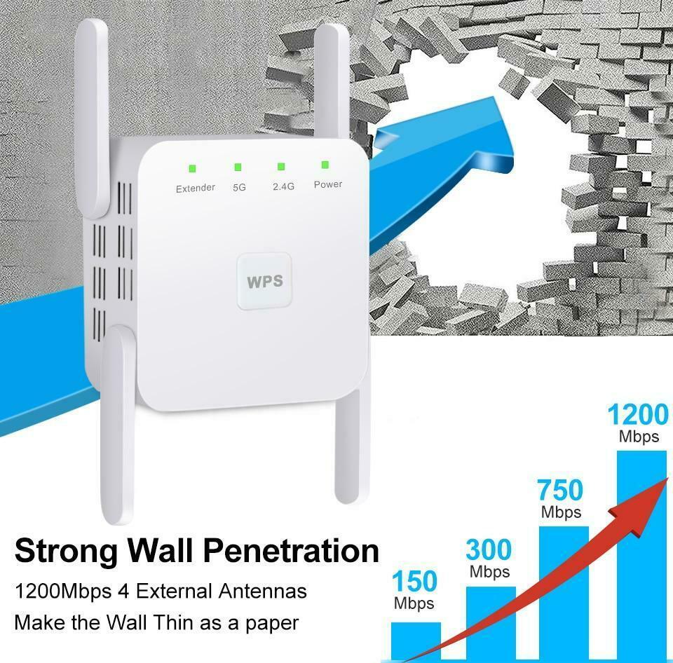 Repetidor WiFi inalámbrico 5G, extensor WiFi, 1200Mbps, repetidor Wifi de largo alcance, amplificador de señal Wi-Fi CA 2,4G 5ghz Ultraboost Superbat antena Dual 6DBi omnidireccional enchufe de RP-SMA macho (pin hembra) conector para interior Wi-Fi señal de rango inalámbrico