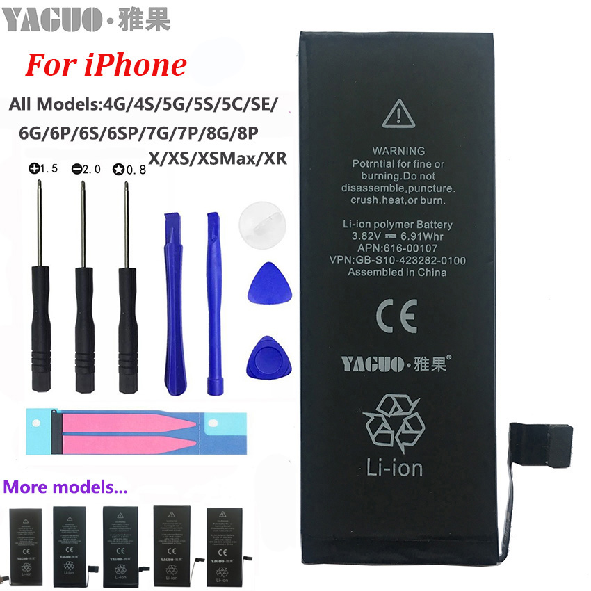 100% New Original Phone Battery For Apple IPhone 4 4S 5 5S 5C SE 6 6S 7 8 Plus X XS MAX XR Real Capacity 0 Cycle Free Tools Kit