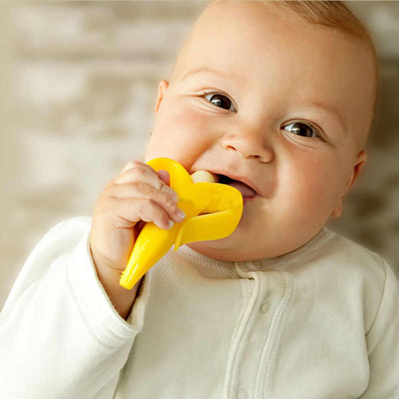 Juguetes De mordedor para bebés con forma de plátano seguro, cepillo de dientes de silicona, cepillo de dientes para dentición, regalos para cuidado Dental, juguetes para masticar para niños @ 2