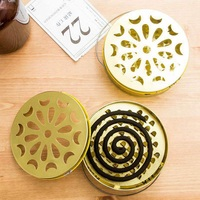 Frame Safe Metal Round Rack Plate Portable Spiral With Cover Mosquito Coil Holder Tray Incense Insect Repellent Random Color|Repellents|   -