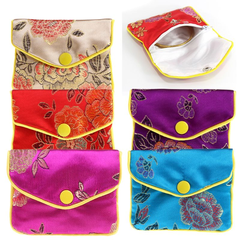 Jewelry Storage Bags Silk Chinese Tradition Purse Gifts Jewels Holder Organizer Mini Bag 5 Colors