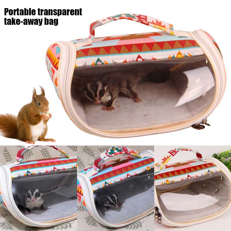 Hamster Carrier Bag Small Pet Portable Breathable Bag For Hedgehog Squirrel Sugar Glider Chinchilla Mice Rats Ferret JA55