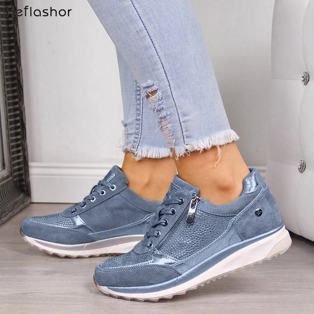 HEFLASHOR Casual Shoes Flats Flowers Women Sneakers New-Printed Fashion Woman Lace-Up title=