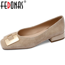 FEDONAS Vintage Shallow Women's Shoes Suede Leather Square T