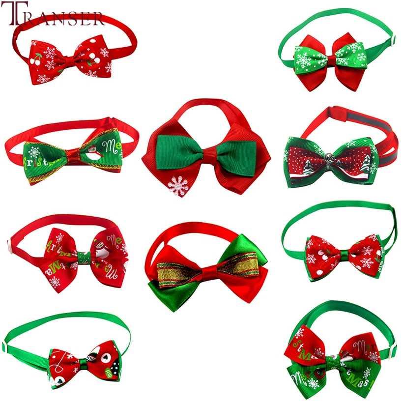 Transer 10 unids/lote de corbatín ajustable para mascotas de Navidad, corbatas de cuello de gato, corbatas de lazo para fiestas, productos para mascotas 9107