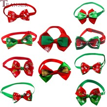 Transer 10pcs/lot Adjustable Christmas Pet Dog Bowties Cat Neck Ties Holidays Bow Tie Collar Groomings Pet Products 9107(China)