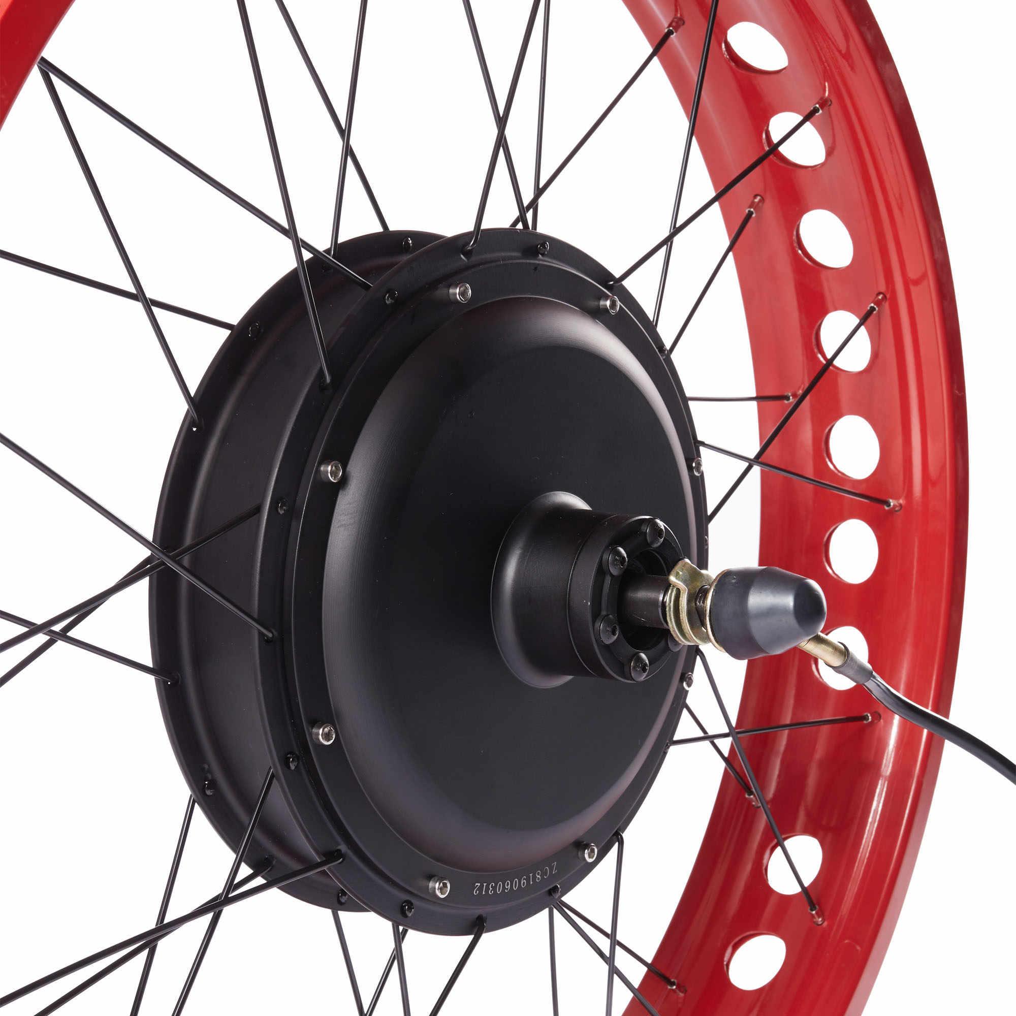 26 pouces rouge gros vélo électrique avant/arrière roue Kit de Conversion pour 4.0 pneu 36/48V 250/350/500/1000/1500W DC Brushless Hub moteur
