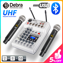 Debra Audio DJ Console Mixer Soundcard with 2channel UHF wireless microphone for Home Studio Recording Network Live Karaoke
