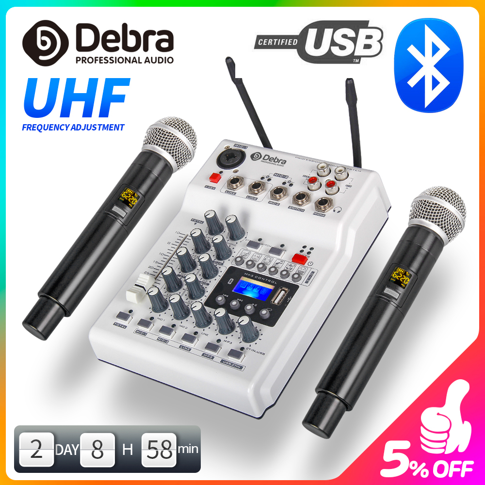 DebraAudio DJ Console Mixer Soundcard With 2channel UHF Wireless Microphone For Home PC Studio Recording DJ Network Live Karaoke