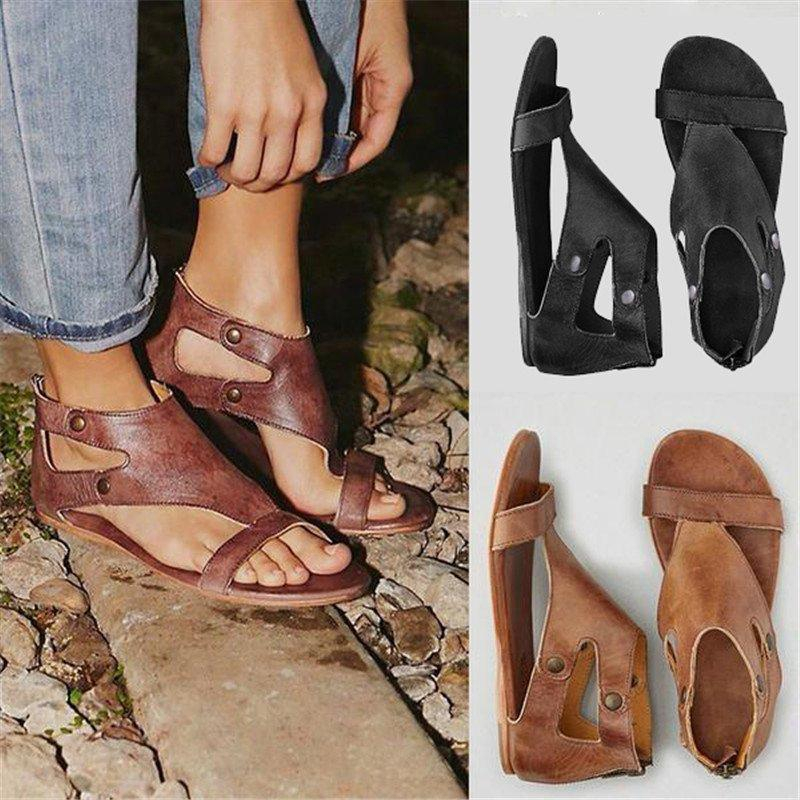 2020 New Woman Summer Shoes Sandals Ankel Wrap Flat Square Heels Open-toed Concise Casual Zip Rivet Sewing Button
