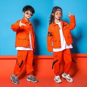 Image 4 - Caz Kostümleri Turuncu Takım Uzun Kollu Ceket Pantolon Erkek Sokak Dans Elbise Hip Hop Dans Seti Sahne Giyim Çocuklar
