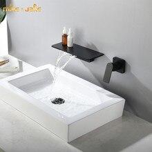 Matte Black Wallอ่างล้างหน้าก๊อกน้ำห้องน้ำสีดำผสมน้ำตกร้อนและเย็นห้องน้ำสีดำน้ำแตะน้ำตกสไตล์สีดำก๊อกน้ำ