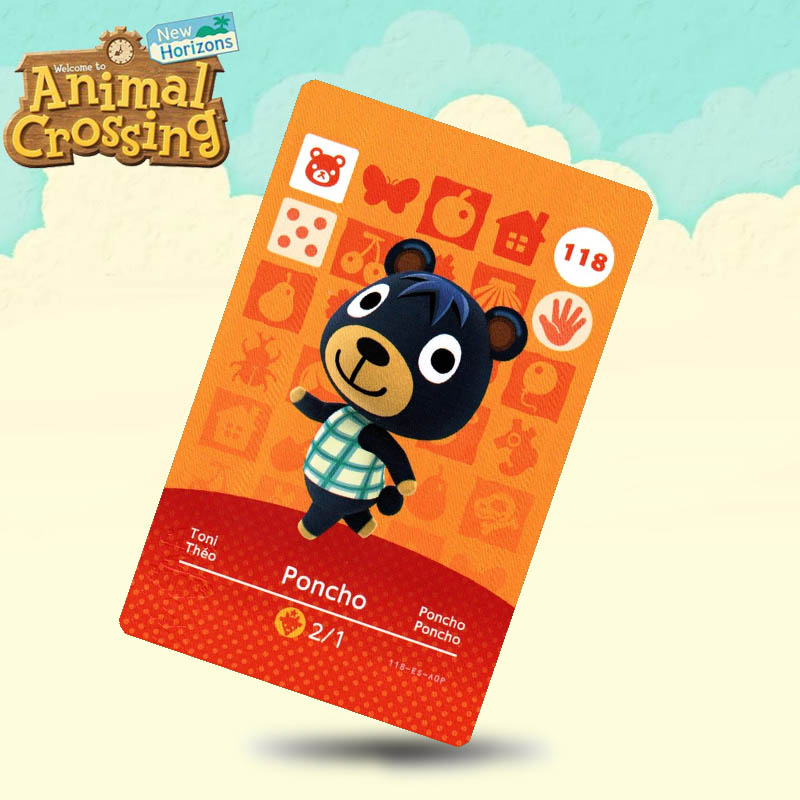 118 Poncho Animal Crossing Card Amiibo Cards Work For Switch NS 3DS Games