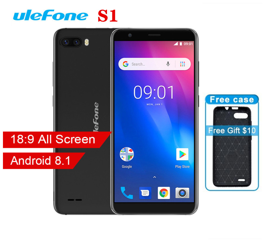 Ulefone S1 Мобильный телефон Android 8,1 5,5 дюймов 18:9 MTK6580 четырехъядерный 1 ГБ ОЗУ 8 Гб ПЗУ 8МП + 5Мп задняя двойная камера 3g смартфон