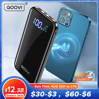 QOOVI Power Bank 18W PD Magnetic Wireless 10000mAh USB C Charger External Battery Portable Quick Charge PowerBank For iPhone 12